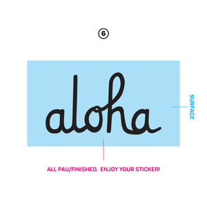 ALOHA SCRIPT DIE CUT STICKER 3 INCH