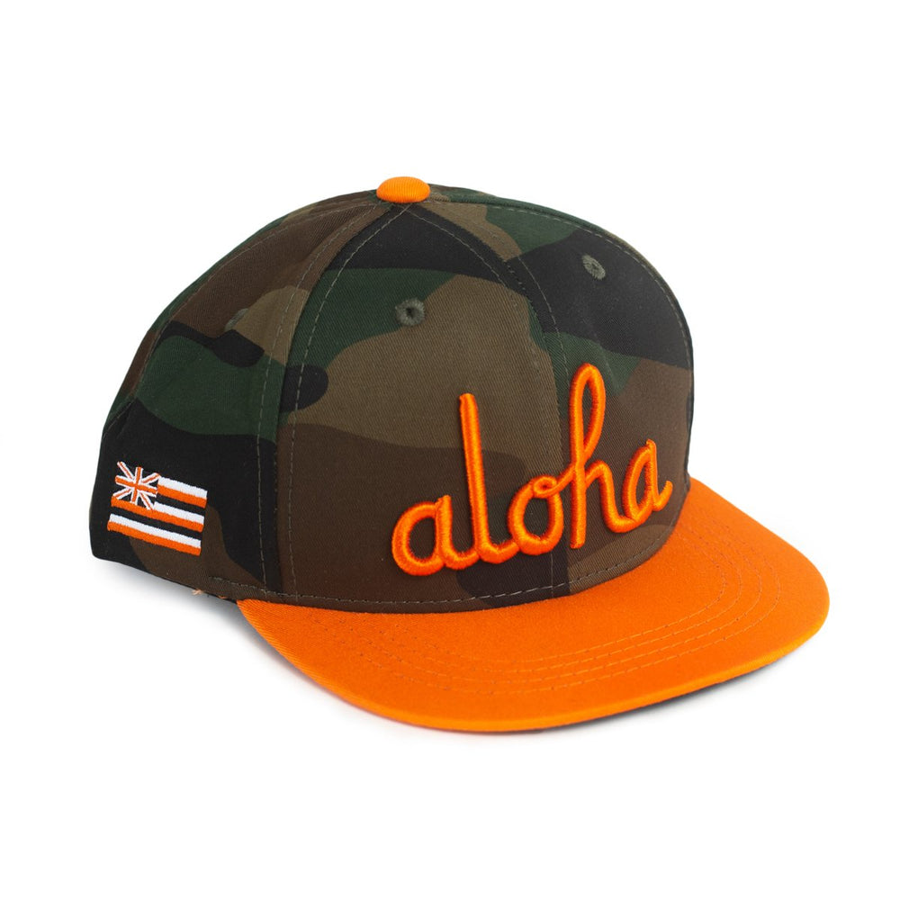 KIDS ALOHA SCRIPT SNAPBACK (WOODLAND CAMO/ORANGE)