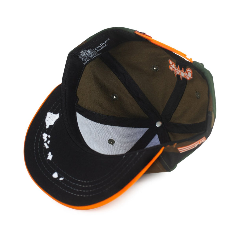KIDS - ALOHA SCRIPT SNAPBACK (WOODLAND CAMO/ORANGE)