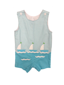 Stripe Sleeveless Shortall with boats applique