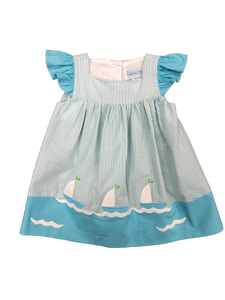 Stripe Sleeveless Dress with boats applique