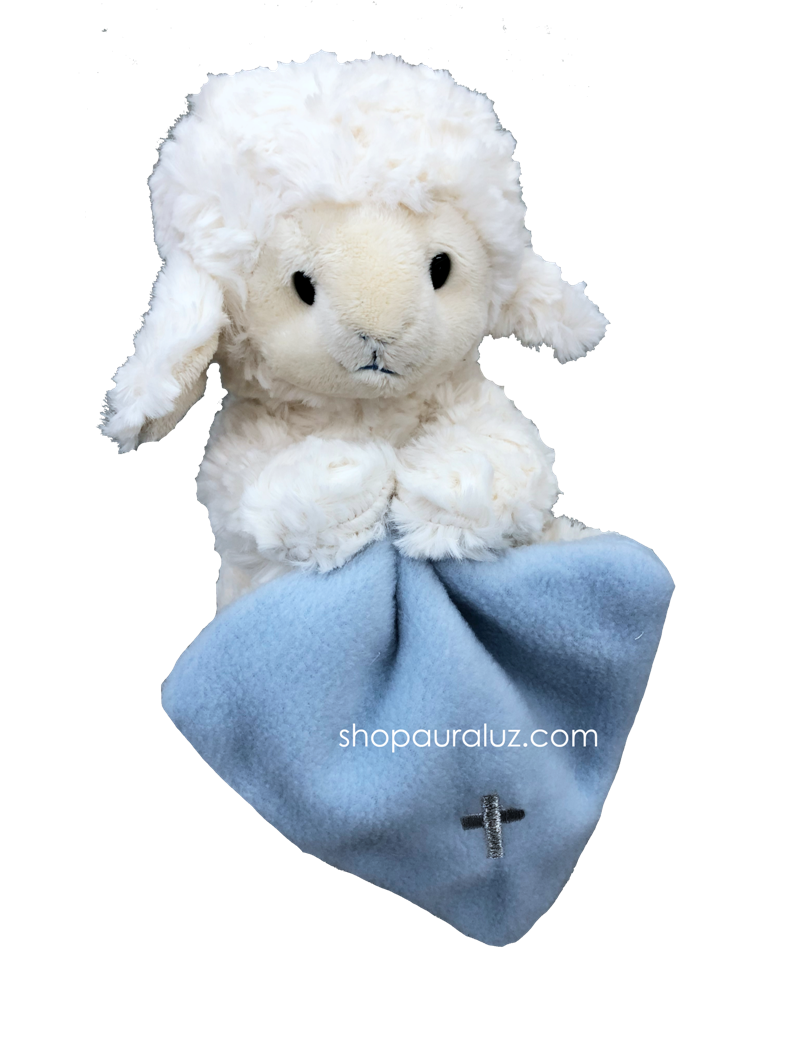 Jesus Loves Me Lamb with blue cross blanket