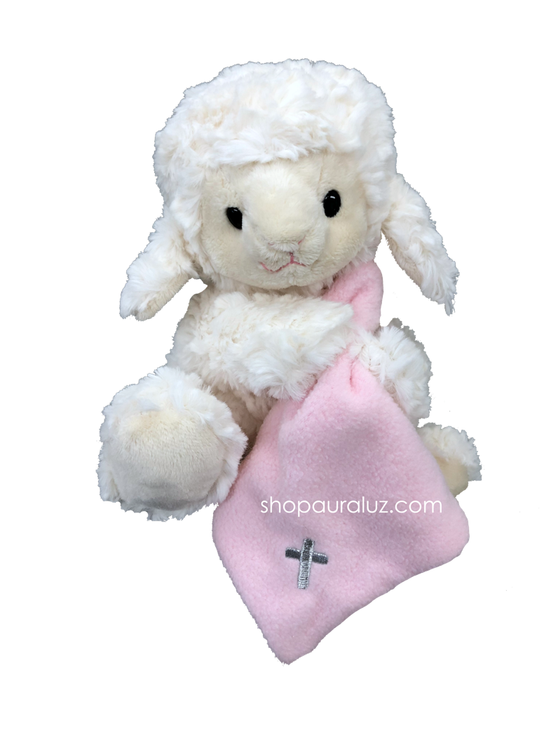Jesus Loves Me Lamb with pink cross blanket