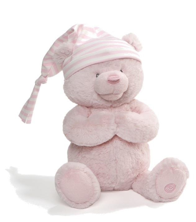 Animated Goodnight Prayer Bear-Pink