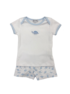 White /Blue Knit Dinosaurs Short Set