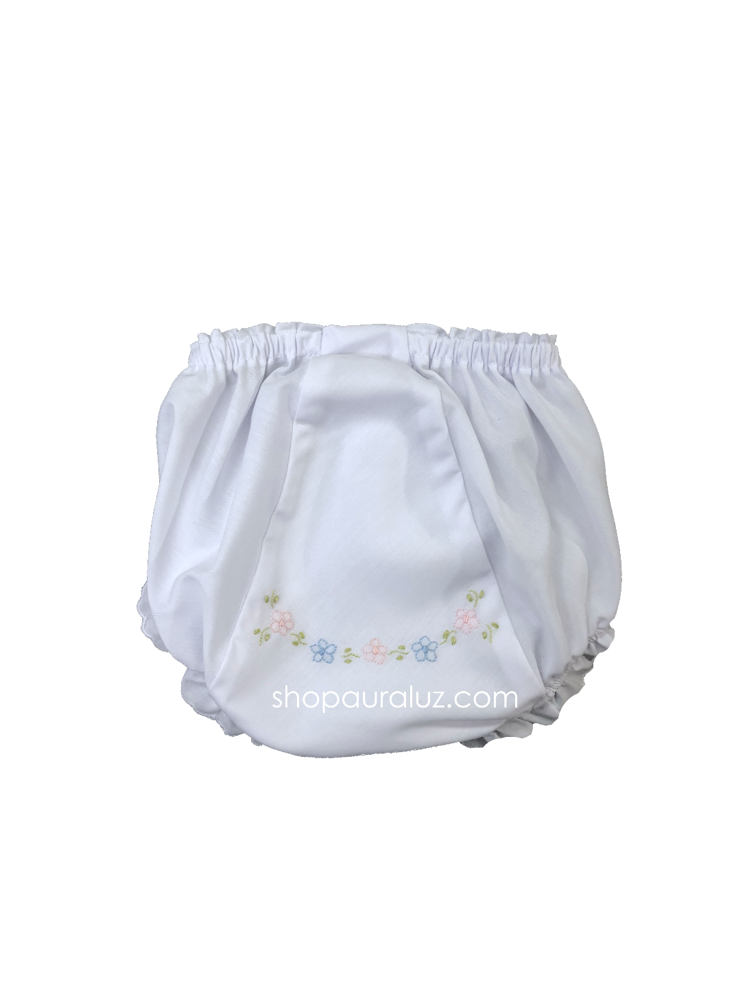Auraluz Panty...White with scallops and embroidered flowers