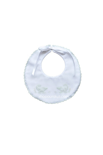 Auraluz Baby Bib..White w/green scallops and embroidered alligator