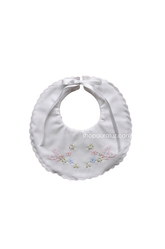 Auraluz Baby Bib..White w/pink scallops and embroidered butterflies