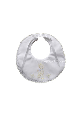 Auraluz Baby Bib..White w/yellow scallops and embroidered giraffe