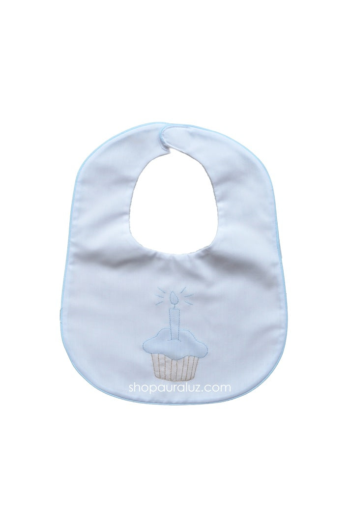 Auraluz Bib...White with blue binding trim and embroidered cupcake