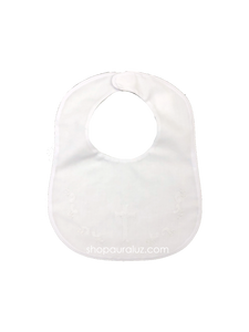 Auraluz Bib...White with white binding trim and embroidered cross