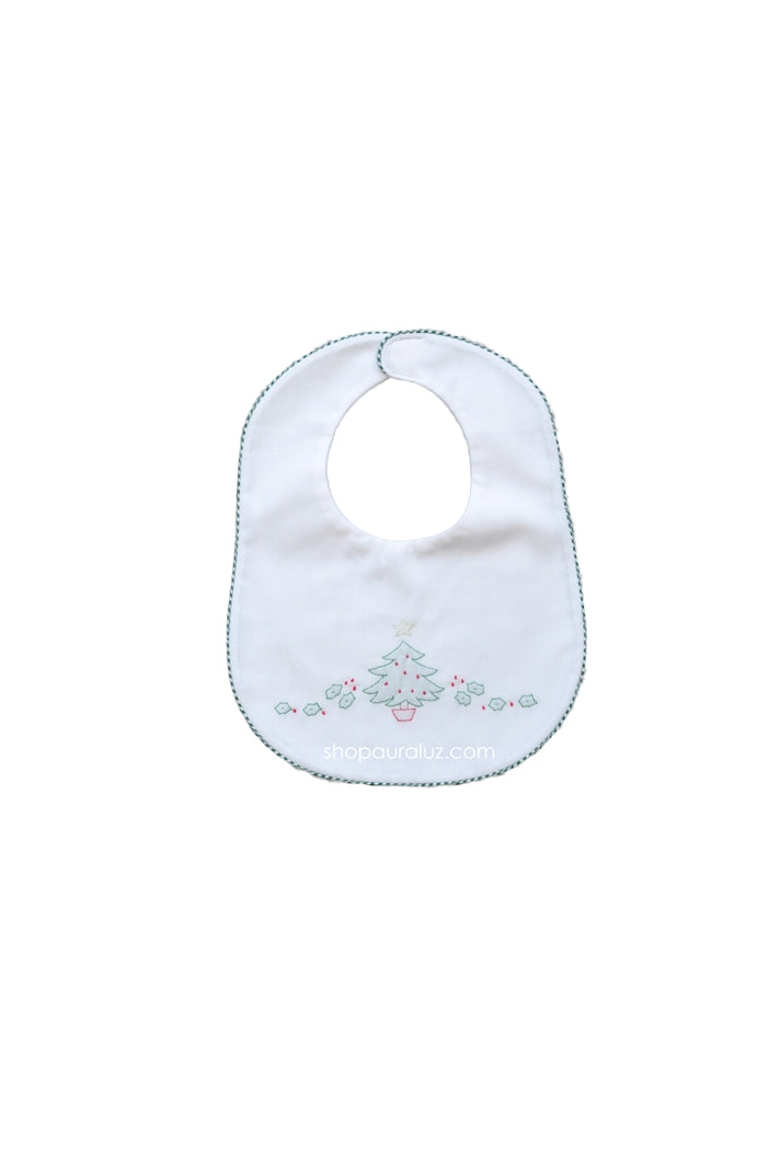 Auraluz Christmas Bib..White w/green check trim and embroidered tree