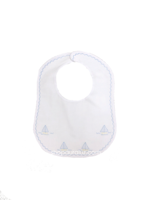 Auraluz Bib..White w/blue scallop stitching and embroidered boats