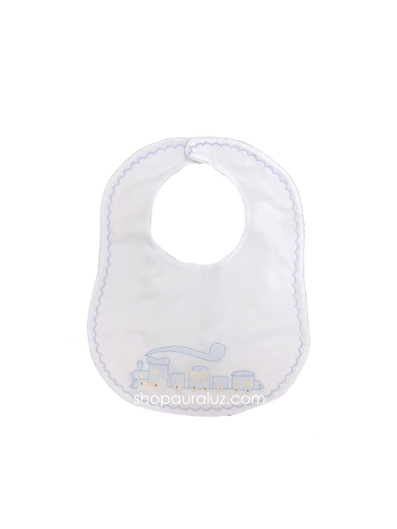 Auraluz Bib..White w/blue scallop stitching and embroidered train