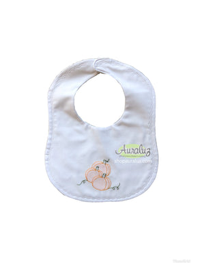 Auraluz Bib..White w/white scallop stitching and embroidered pumpkins.   STORE EXCLUSIVE!