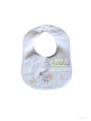 Auraluz Bib..White w/white scallop stitching and embroidered turkeys.    STORE EXCLUSIVE!