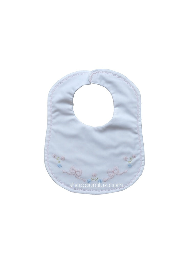 Auraluz Bib..White w/pink scallop stitching and embroidered bows