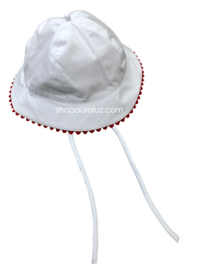 Auraluz Boy Sun Hat...White with red ric-rac trim