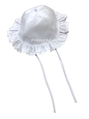 Auraluz Girl Sun Hat...White with white ric-rac trim
