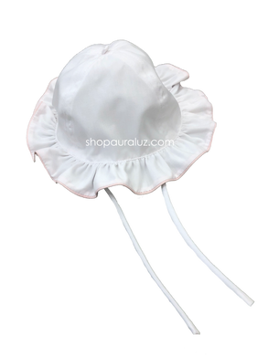 Auraluz Girl Sun Hat...White with ruffle edge and  pink piping trim
