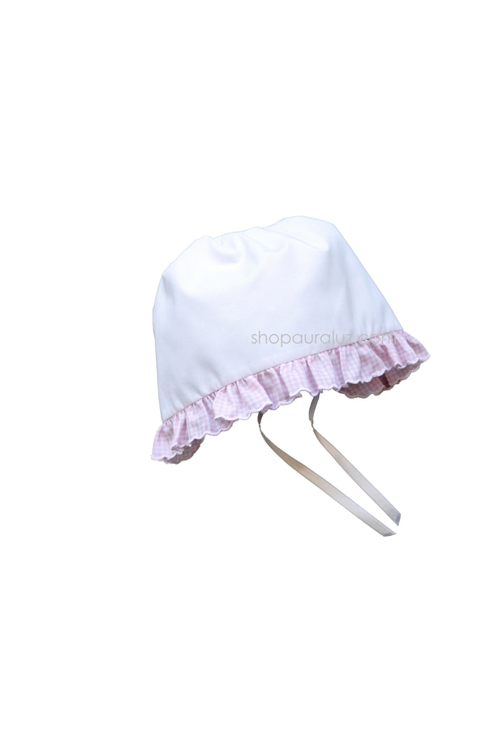 Auraluz Baby Hat...White with pink check ruffle