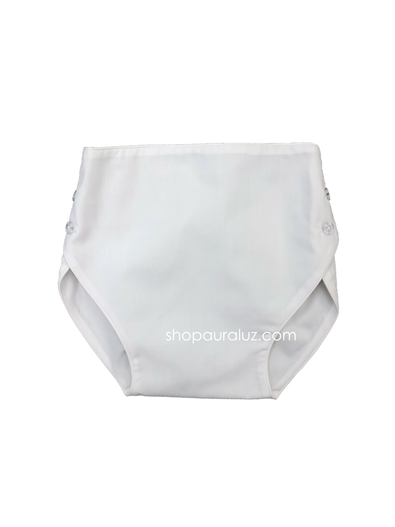 Auraluz Diaper Cover...White with white piping trim