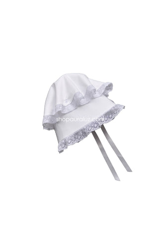 Auraluz Button Bonnet..White with white wide lace