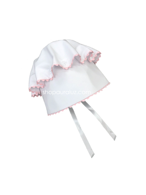 Auraluz Button Bonnet..White with pink ric-rac