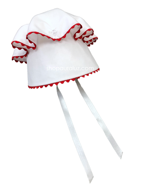 Auraluz Button Bonnet..White with red ric-rac