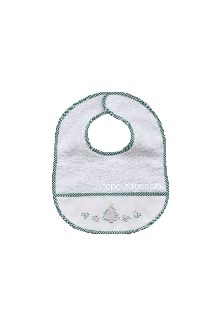 Auraluz..Christmas Terry Bib with green check trim and embroidered tree