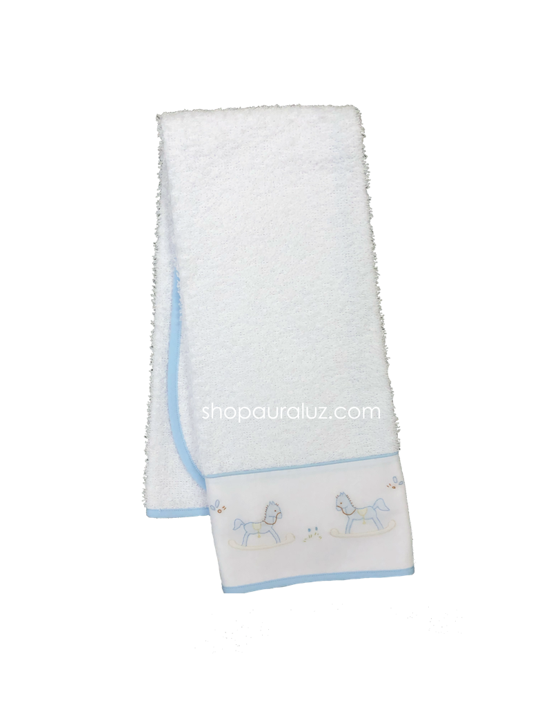 Auraluz Burp/Spill Towel...White with blue binding and embroidered rocking horses