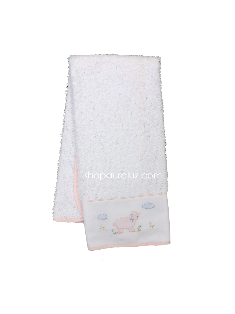 Auraluz Burp/Spill Towel...White with pink binding and embroidered lamb
