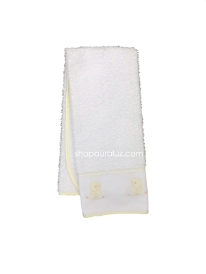 Auraluz Burp/Spill Towel...White with yellow binding and embroidered ducks