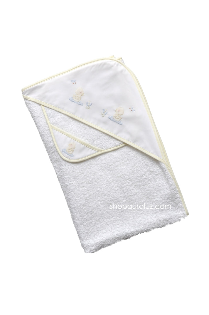 Auraluz Towel/washcloth set...White with yellow binding and embroidered ducks