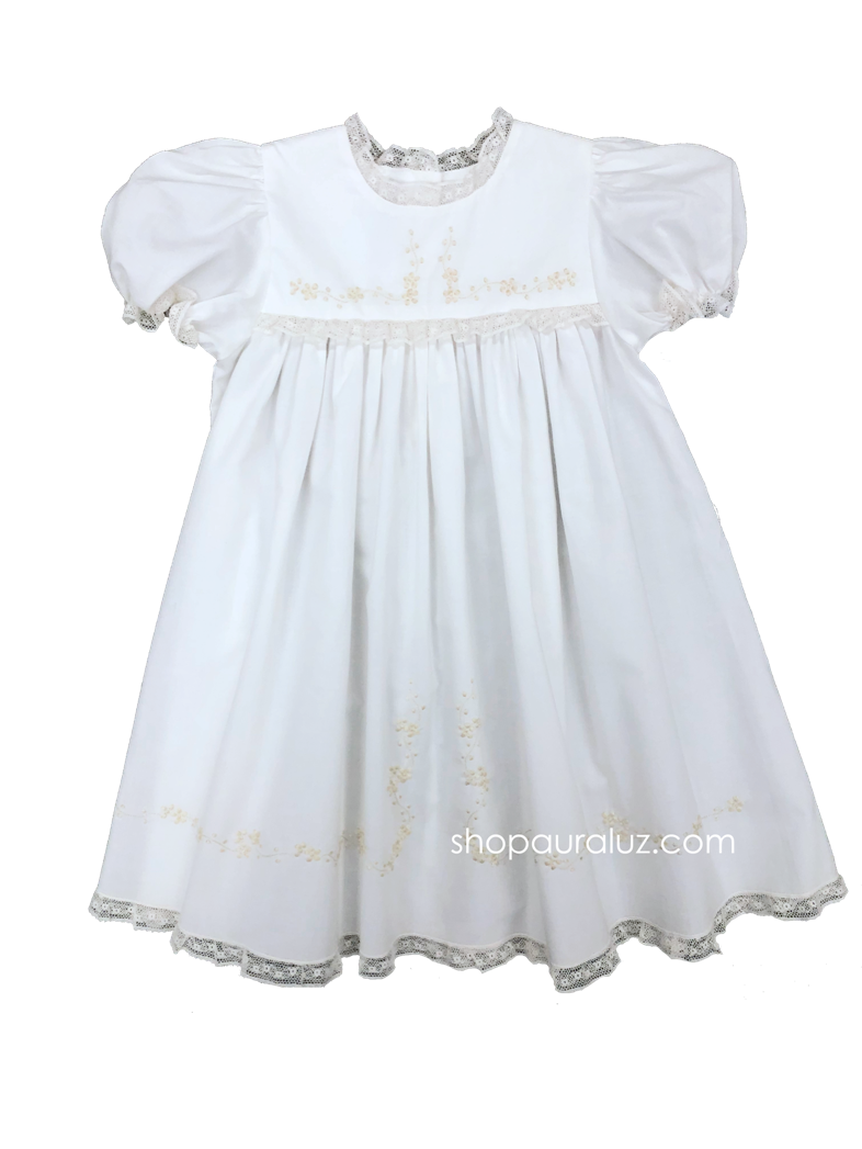 Auraluz Dress..White with ecru lace, no collar and ecru embroidered flowers