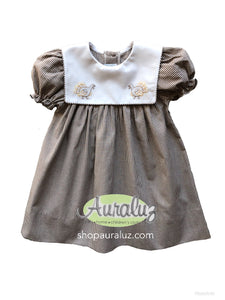 Auraluz Dress..Brown check with sq.collar and embroidered turkeys. STORE EXCLUSIVE!