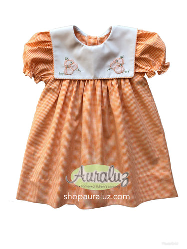 Auraluz Dress.Orange check with sq.collar and embroidered pumpkins. STORE EXCLUSIVE!