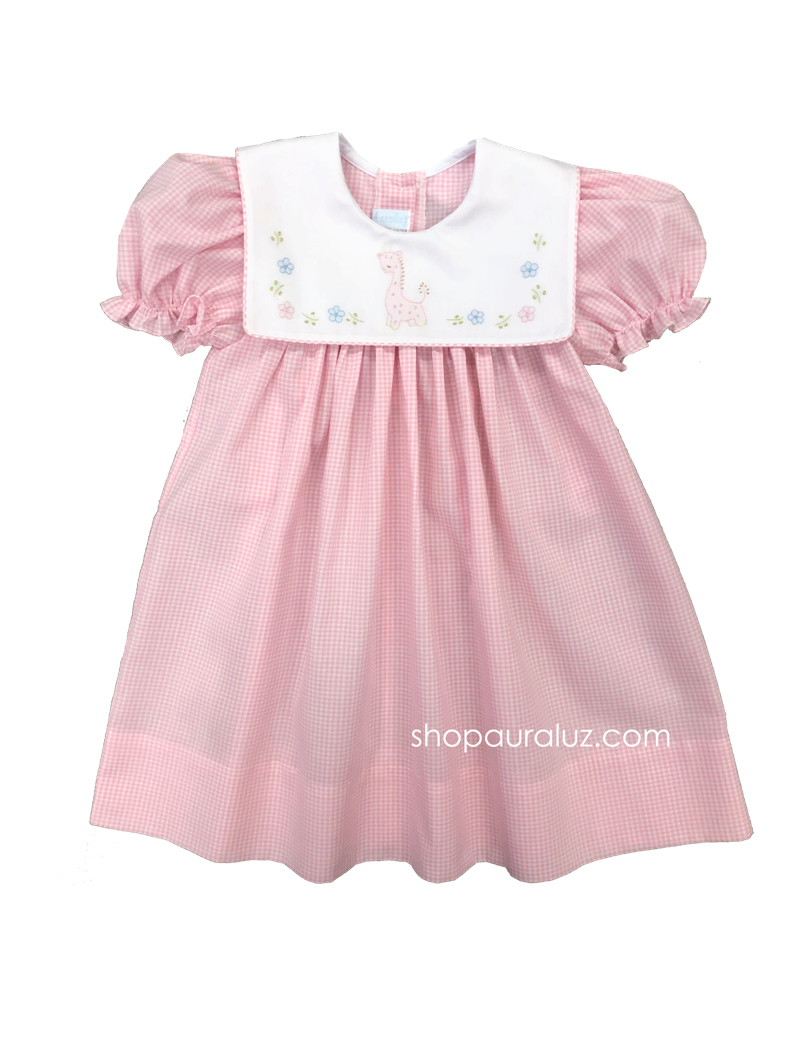 Auraluz Dress..Pink check with sq.collar and embroidered giraffe