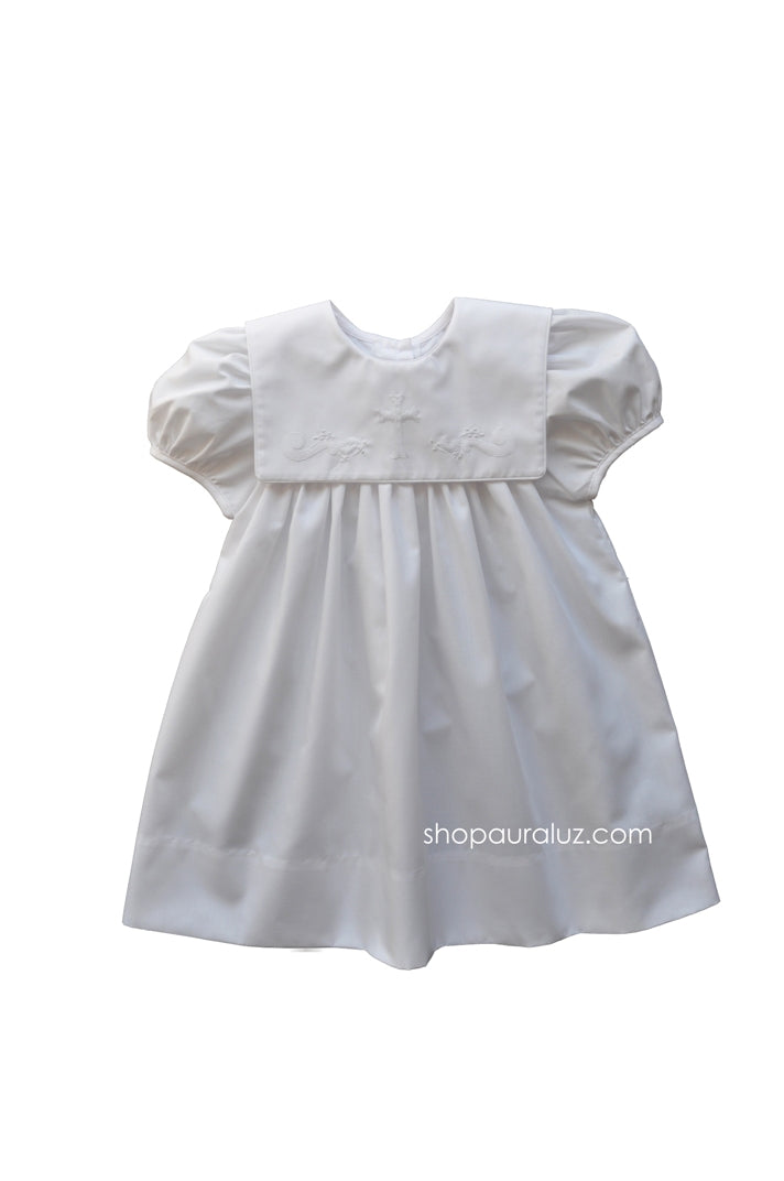 Auraluz Dress...White with square collar, white binding trim and embroidered cross