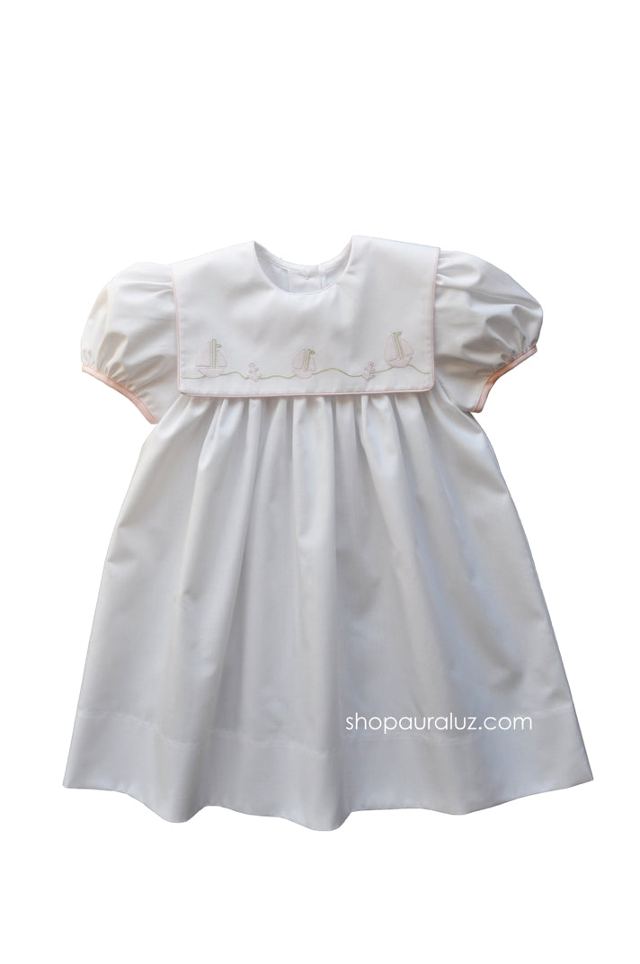 Auraluz Dress...White with square collar,pink binding trim and embroidered boats