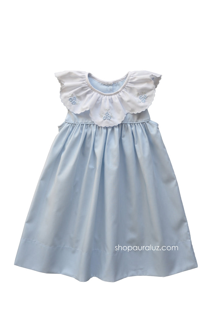 Auraluz Sleeveless Dress...Blue with ruffle collar and embroidered flowers