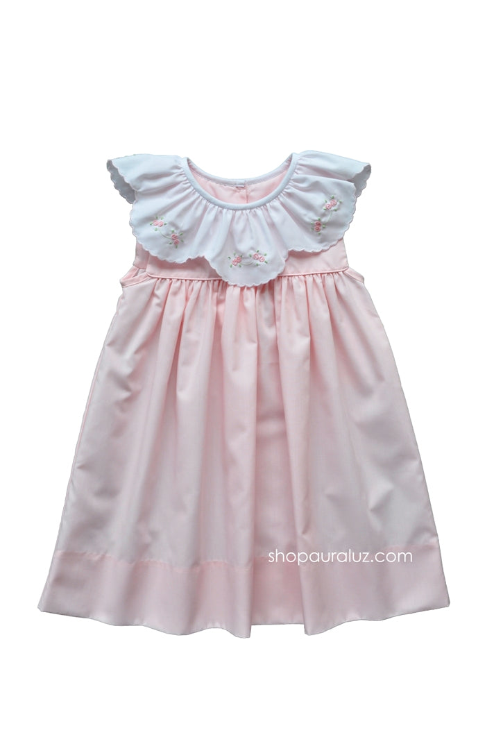 Auraluz Sleeveless Dress...Pink with ruffle collar and embroidered flowers