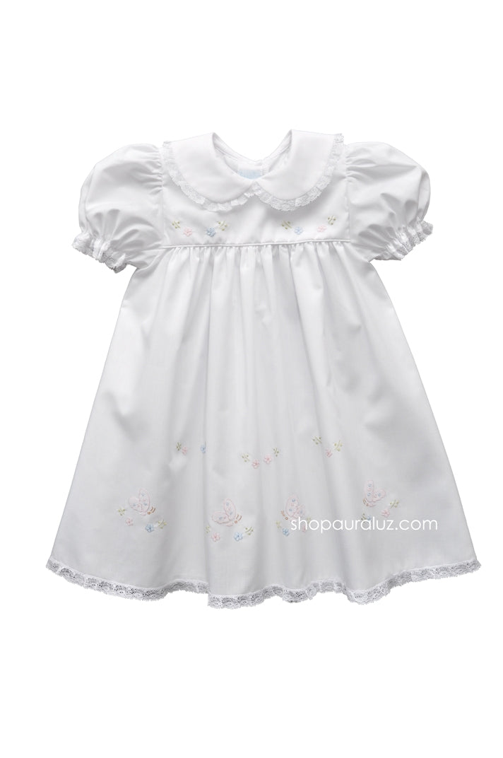 Auraluz Dress...White with lace, p.p.collar and embroidered butterflies