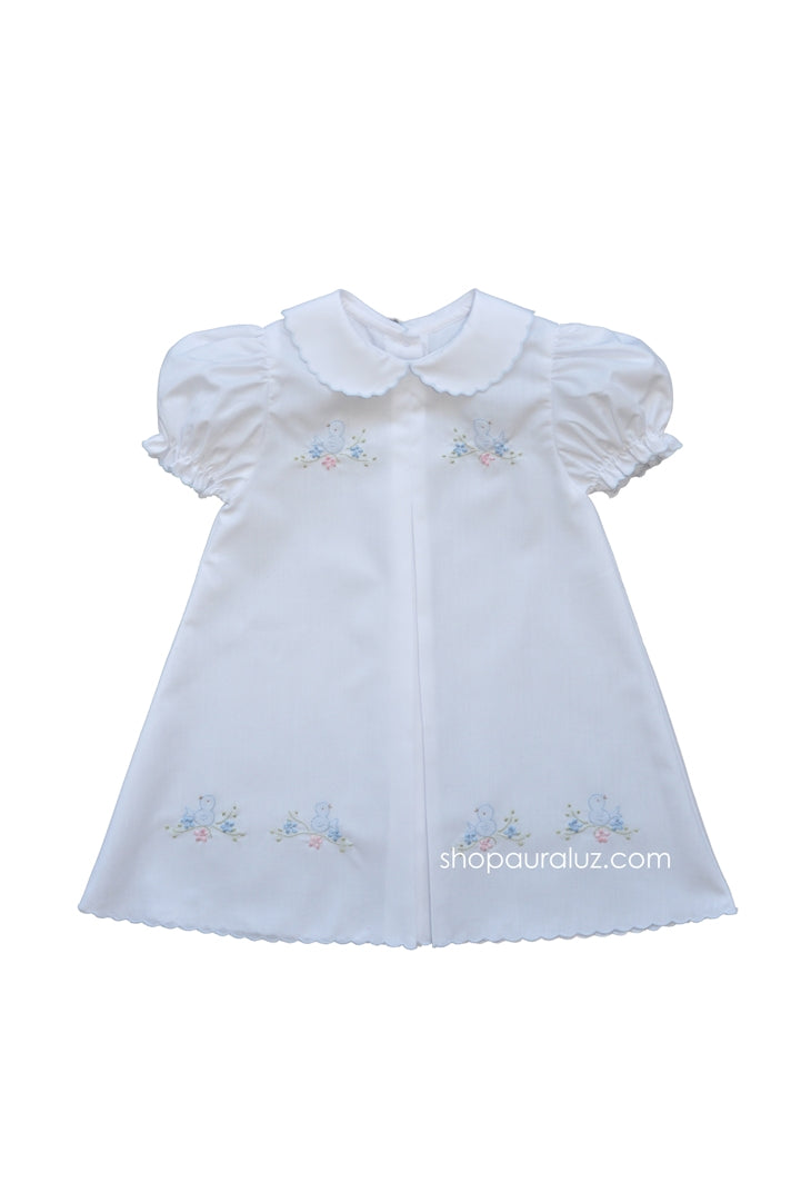 Auraluz Baby Dress...White with blue scallop trim and embroidered birds