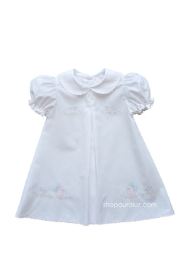 Auraluz Baby Dress...White with pink scallop trim and embroidered ducks