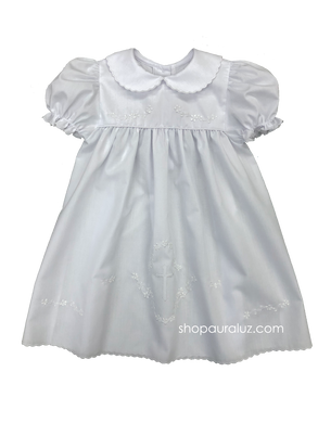 Auraluz Dress...White with white scallop trim, p.p.collar and embroidered cross
