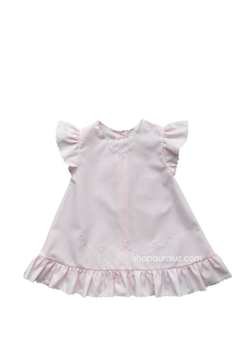 Auraluz Baby Dress..Pink with ruffle sleeve/hem and embroidered bows
