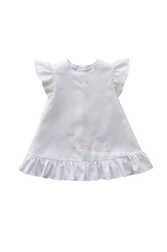 Auraluz Baby Dress..White with ruffle sleeve/hem and pink embroidered lamb