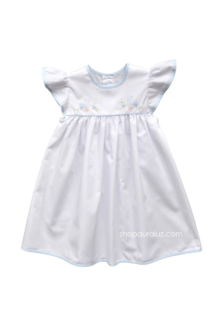 Auraluz Dress Angel Sleeve...White with blue trim and embroidered birds