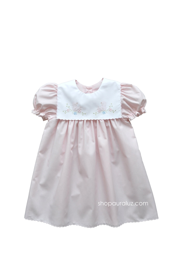 Auraluz Dress..Pink with scallop trim,square collar and embroidered birds